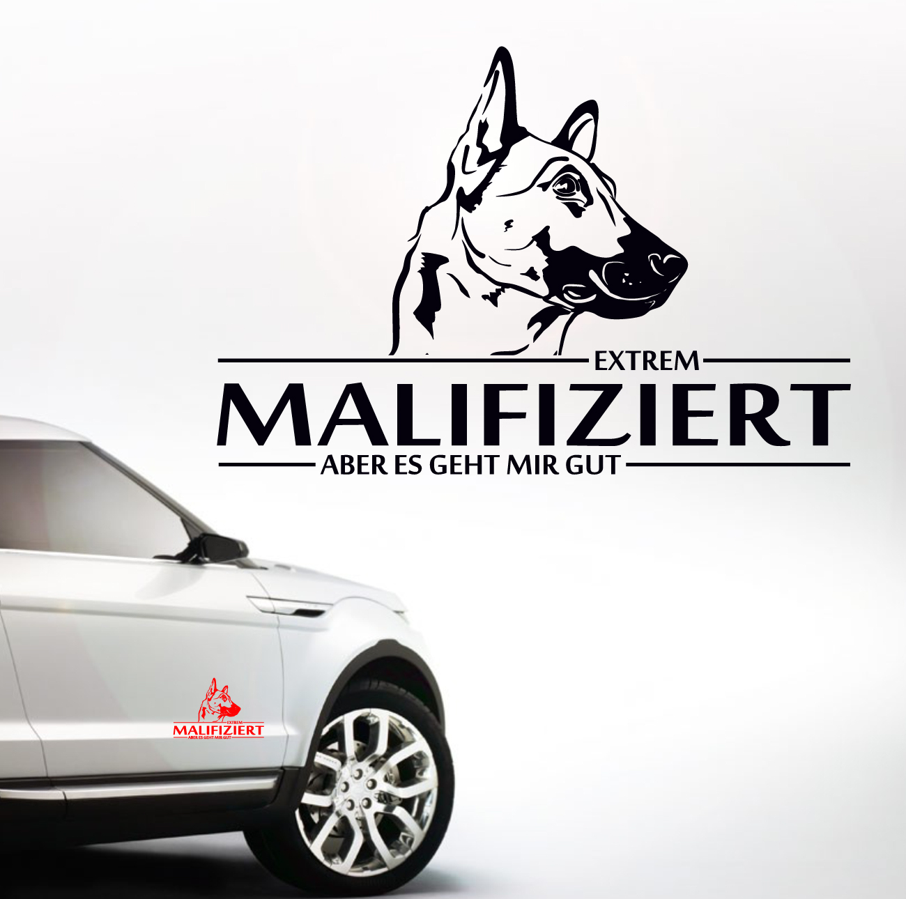 auto aufkleber malifiziert malinois infiziert hund hunde siviwonder ebay. Black Bedroom Furniture Sets. Home Design Ideas